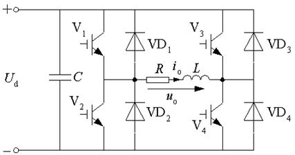 四个开关管和四个续流二极管构成两个桥臂,可看成两个半桥电路的